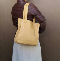 Small Leather Shoulder Bag, Cream Beige Classic Bags, Annel - $98.49