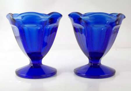 NEW (2) Low Sherbet in Fountainware-Cobalt Blue by Anchor Hocking