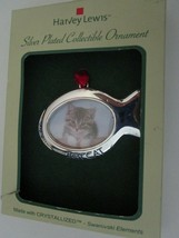 Christmas Cat Ornament Silver Plated Collectible Best Cat Crystallized - $14.95