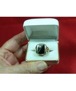 Mens 14k yellow gold diamond & onyx nugget ring... - $480.00