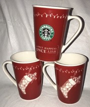 Starbucks 2005 Red & White Stocking Christmas Coffee Mugs (Retired) Once A Year - $59.99