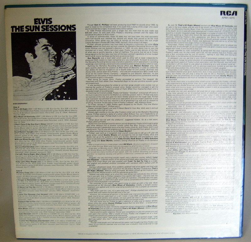 'Elvis - The Sun Sessions' vintage mono lp vinyl record
