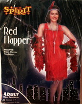 Spirit Red Flapper Adult Costume Size Large 12-14 Dress, Gloves, Headpiece New - $17.95
