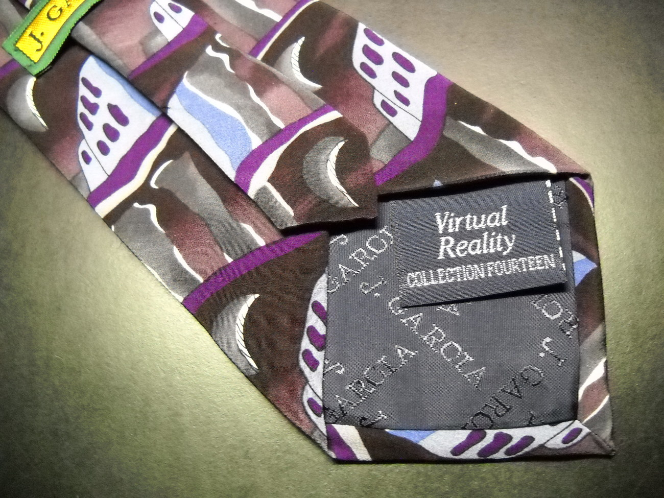 J Garcia Neck Tie Collection 14 Virtual Reality Stonehenge Blues Purples Greys