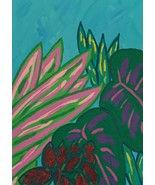 Tropical Leaves, Original Acrylic Painting, 5 x 7, Signed Artwork - $25.00