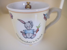 Royal Worcester Wednesday's Child Baby Mug Cup Days of the Week Bunny Ra... - $9.95