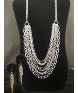 Silvertone Multi Tiered Necklace And Earring Se... - $24.00
