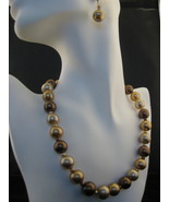Faux Brown,Caramel And Golden Pearl Necklace & Earring Set - $23.00
