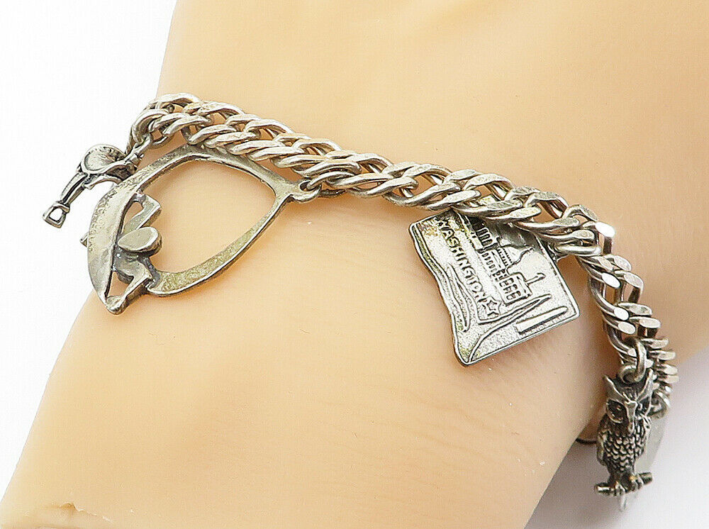 925 Sterling Silver - Vintage Assorted Charm Curb Link Chain Bracelet - B6015