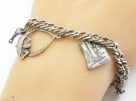 925 Sterling Silver - Vintage Assorted Charm Curb Link Chain Bracelet - B6015 image 1