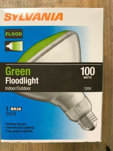 Primary image for Sylvania Brand 100 Watt Green BR38 Outdoor Flood Bulbs