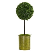 2.5 ft. High Indoor/Outdoor Boxwood Topiary Artificial Tree in Green Tin - $106.03