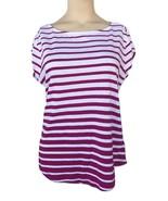 Liz Claiborne Striped T-Shirt Slub Henley Tee Petite Size PL New Msrp $3... - $11.99