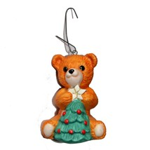 "HALLMARK*1.5x2"" Holiday Ornament Orange+Green+Red Teddy Bear+Christmas Tree 1990 - $9.99"