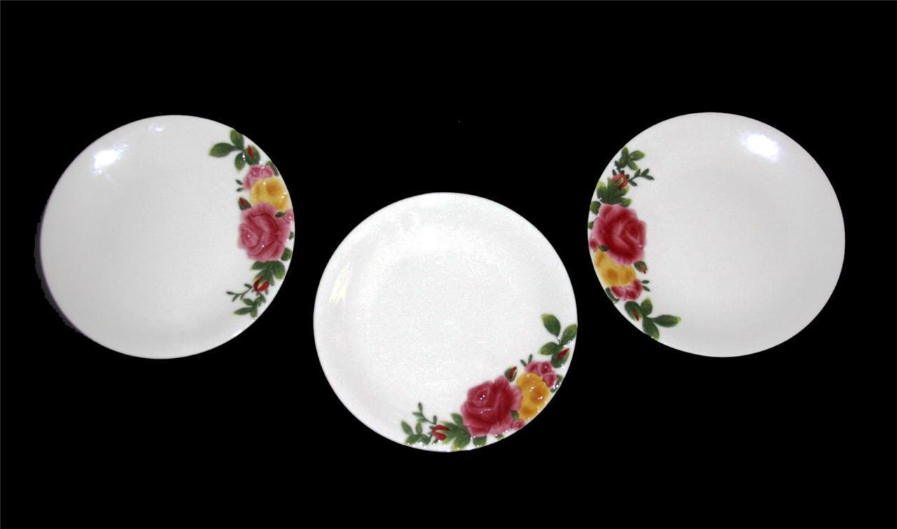 3 Royal Albert Embossed Majolica COUNTRY ROSE Dessert Salad Plates NWT Beautiful