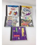 Lot of 5 VTG 90s PC CD ROM Kids Games Windows 1995 Sim City 2000 Catz Do... - $16.63