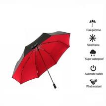 Windproof umbrella, Automatic folding travel compact umbrealla with tefl... - $34.36