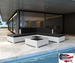 Patio Sets Clearance Pool Lounge Wicker Sofa Coffee Table White Rattan O... - $630.03