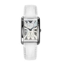 Emporio Armani AR1672 Classic Rectangle White Leather Strap Womens Watch - $87.01