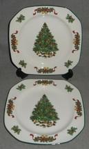 Set (2) Johnson Brothers VICTORIAN CHRISTMAS PATTERN Salad Plates ENGLAND  - $59.39
