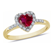 Heart Shape Red Garnet Womens Engagement Ring 14k Gold Finish 925 Solid Silver - £53.45 GBP