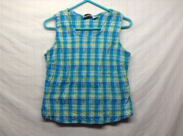 Fashion Bug Blue Plaid Stretchy Summer Tank