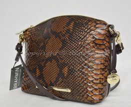 NWT Brahmin Mini Duxbury Shoulder Bag in Tortoise Seville Brown Embossed Leather image 7