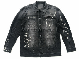 True Religion Mens L Black Distressed Paint Splatter Denim Trucker Jacke... - $141.55