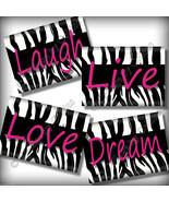Hot Pink ZEBRA Print Wall Art Girl Room Decor Teen LIVE LOVE Laugh DREAM... - $14.99