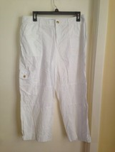 Ralph Lauren All Cotton White Cropped Capri Pants with Gold Buttons Petite 10 - $17.35