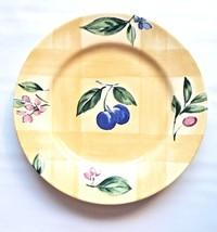 Nikko Ceramic Spring Dance Yellow Salad Plate Plums, Berries(Discontinue... - $14.50