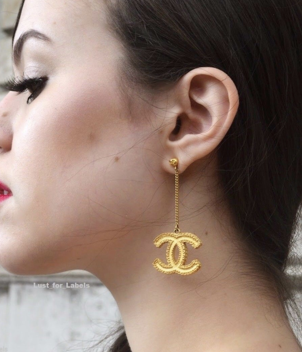 100% Authentic CHANEL 2017 XL Large Baroque Gold CC Dangle Earrings