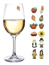 Thanksgiving Magnetic Wine Glass Charms Set of 12 Perfect Drink Markers for - $41.55