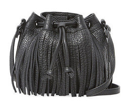 Rebecca Minkoff Black Leather Fringe Micro Lexi Bucket Crossbody Bag NWT - £113.63 GBP
