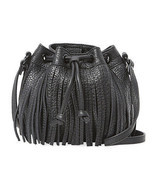 Rebecca Minkoff Black Leather Fringe Micro Lexi Bucket Crossbody Bag NWT - £115.00 GBP