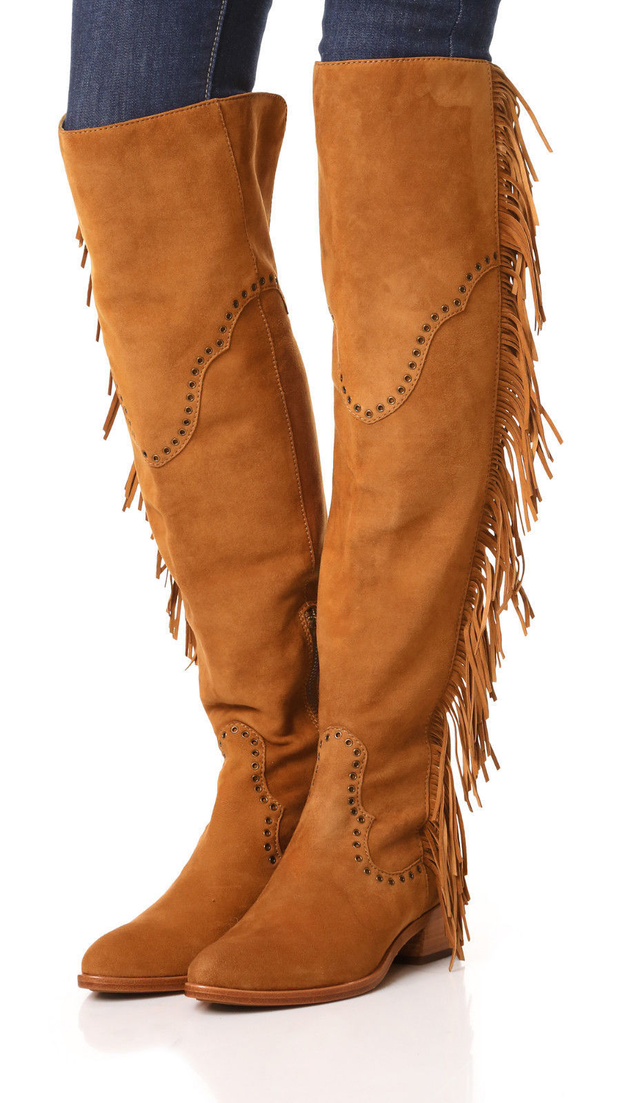 New $578 Womens 9.5 Frye Suede Leather Boots OTK Tall Knee Fringe Ray Camel Tan