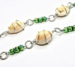 Necklace the Aluminium Long 48 Inch with Seashells Hematite and Crystals image 5