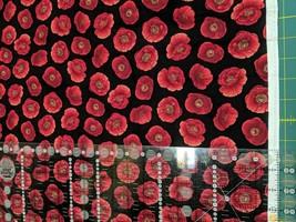 Fabric-Small Poppy on Black-Poppy Fabric-Fabric Traditions #5583 - $6.80