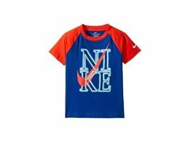 Nike Boys Blue Raglan Neon Graphic Short Sleeve T Shirt New 86E596 New S... - $12.86