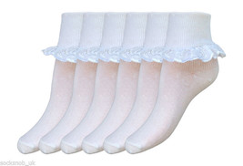 6 Pairs Girls White School Summer Cotton rich l... - $8.91