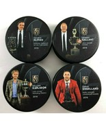 Set of 4 Vegas Golden Knights Preseason Pucks Karlsson Engelland Gallant... - $65.33