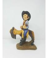 Vintage Gres Divertido Singer Cowboy Equitación Caballo Estatua Decoraci... - $79.19