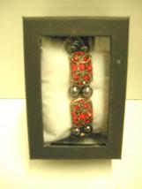 Ladies Magnetic Therapy Bracelet, Red Rhinestones W/Black Beads, Brand New - $9.99
