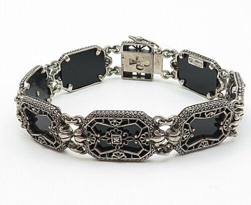 925 Silver - Vintage Black Onyx Topaz Accented Filigree Chain Bracelet  - B4658
