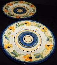 2 Table Tops Gallery Bella Flora Salad Plates Hand Painted Daisy Blue Ye... - $29.69