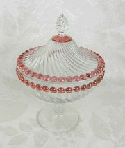 Westmoreland Covered Candy Dish Clear Glass Ball and Swirl Pink Iridesce... - $14.84