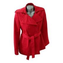 DKNY Classic Red Trench Coat Belt Sz M Donna Karen New York 3/4 Length J... - $69.99