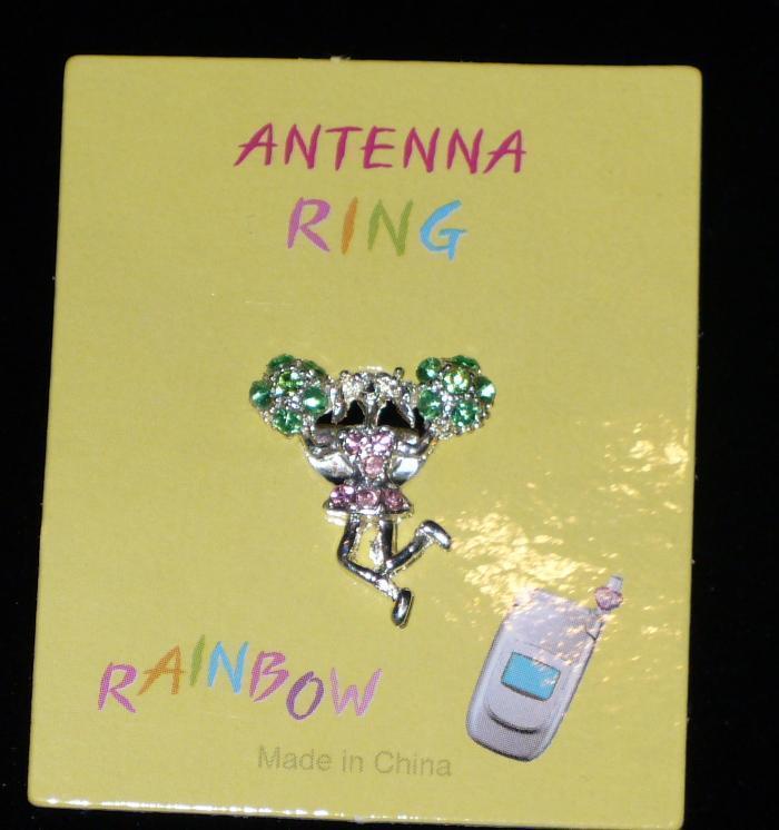 CHEERLEADER Green Pom Poms Cell Phone Antenna Ring