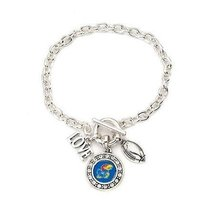Inspired Silver Kansas Jayhawks Love Football Charms Silver Plated Toggl... - $610,54 MXN