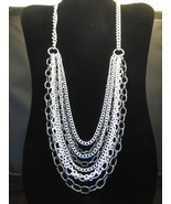 Multi-Strand Silvertone & Pewter Color Necklace... - $24.00